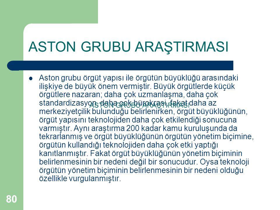 80 ASTON GRUBU ARAŞTIRMASI Aston grubu örgüt yapısı ile örgütün büyüklüğü arasındaki ilişkiye de büyük önem vermiştir.