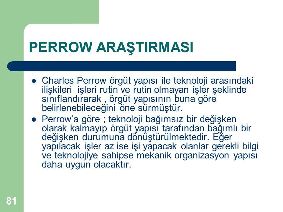 81 PERROW ARAŞTIRMASI Charles Perrow örgüt yapısı ile teknoloji arasındaki ilişkileri işleri rutin ve rutin olmayan işler şeklinde sınıflandırarak, örgüt yapısının buna göre belirlenebileceğini öne sürmüştür.