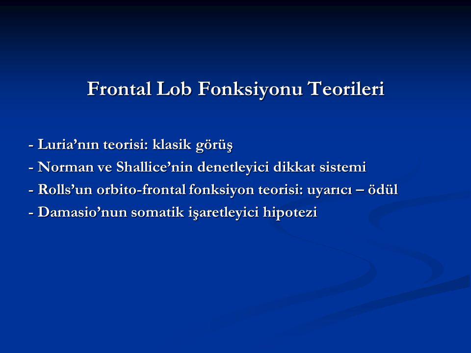 Frontal Lob Fonksiyonu Teorileri - Luria'nın teorisi: klasik görüş - Norman ve Shallice'nin denetleyici dikkat sistemi - Rolls'un orbito-frontal fonks