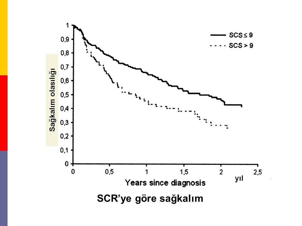 Sağkalım olasılığı SCR'ye göre sağkalım yıl