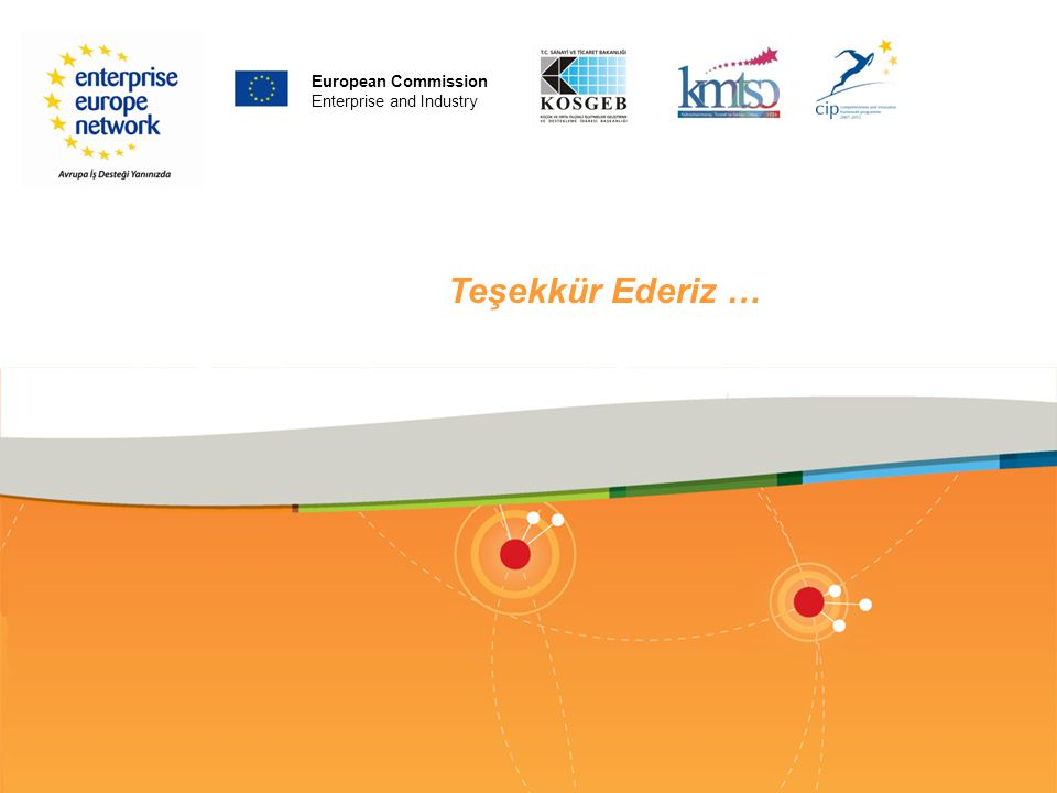 PLACE PARTNER'S LOGO HERE Teşekkür Ederiz … European Commission Enterprise and Industry