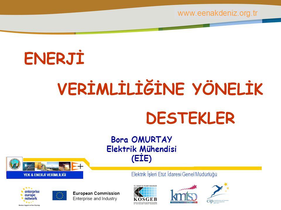 PLACE PARTNER'S LOGO HERE Title of the presentation | Date | ‹#› VERİMLİLİĞİNE YÖNELİK Elektrik İşleri Etüt İdaresi Genel Müdürlüğü YEK & ENERJİ VERİMLİLİĞİ Bora OMURTAY Elektrik Mühendisi (EİE) ENERJİ DESTEKLER European Commission Enterprise and Industry www.eenakdeniz.org.tr European Commission Enterprise and Industry www.eenakdeniz.org.tr