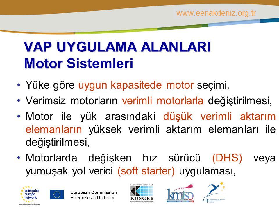 PLACE PARTNER'S LOGO HERE Title of the presentation | Date | ‹#› VAP UYGULAMA ALANLARI Motor VAP UYGULAMA ALANLARI Motor Sistemleri Yüke göre uygun kapasitede motor seçimi, Verimsiz motorların verimli motorlarla değiştirilmesi, Motor ile yük arasındaki düşük verimli aktarım elemanların yüksek verimli aktarım elemanları ile değiştirilmesi, Motorlarda değişken hız sürücü (DHS) veya yumuşak yol verici (soft starter) uygulaması, www.eenakdeniz.org.tr European Commission Enterprise and Industry