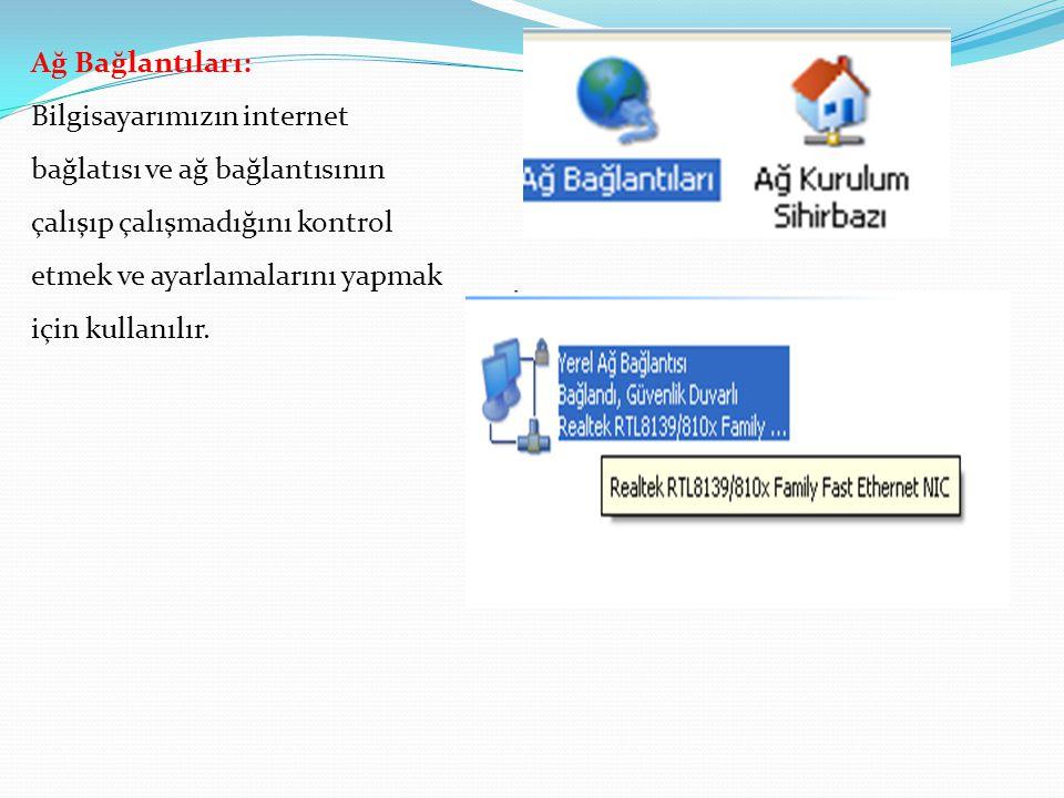 Ağ Bağlantıları: Bilgisayarımızın internet bağlatısı ve ağ bağlantısının çalışıp çalışmadığını kontrol etmek ve ayarlamalarını yapmak için kullanılır.