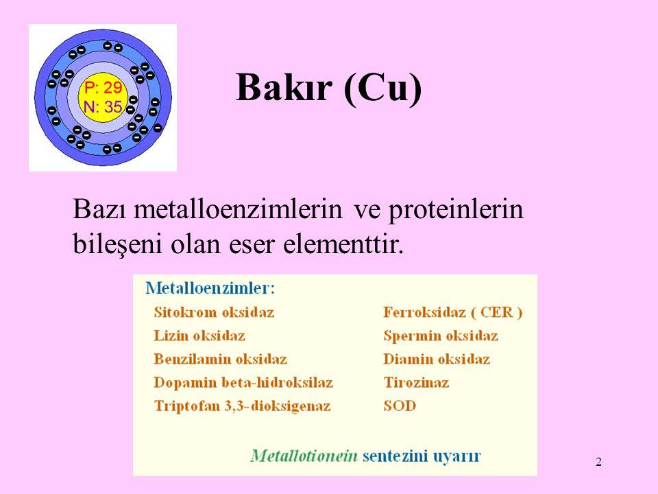 2 Bakır (Cu) Bazı metalloenzimlerin ve proteinlerin bileşeni olan eser elementtir.