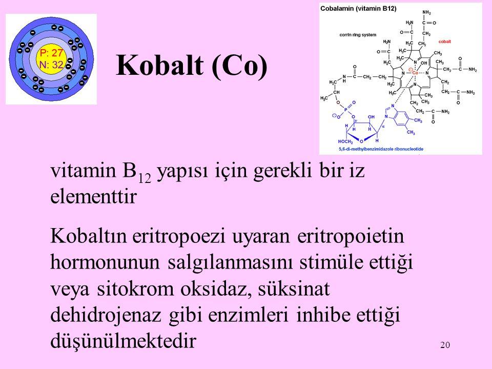 20 Kobalt (Co) vitamin B 12 yapısı için gerekli bir iz elementtir Kobaltın eritropoezi uyaran eritropoietin hormonunun salgılanmasını stimüle ettiği v