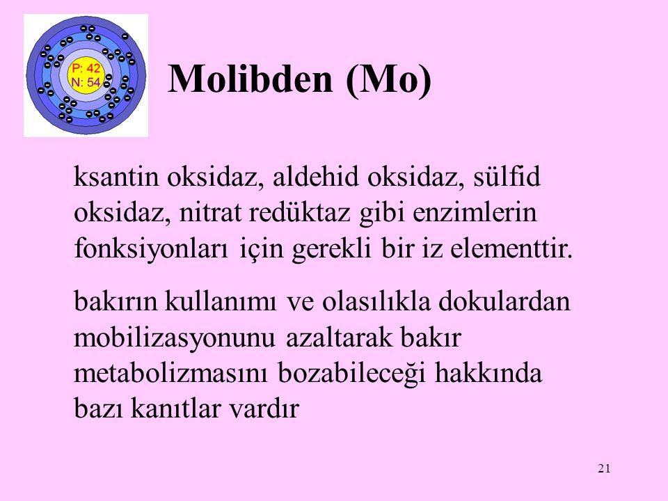 21 Molibden (Mo) ksantin oksidaz, aldehid oksidaz, sülfid oksidaz, nitrat redüktaz gibi enzimlerin fonksiyonları için gerekli bir iz elementtir. bakır
