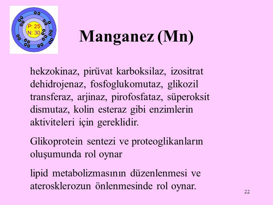 22 Manganez (Mn) hekzokinaz, pirüvat karboksilaz, izositrat dehidrojenaz, fosfoglukomutaz, glikozil transferaz, arjinaz, pirofosfataz, süperoksit dism