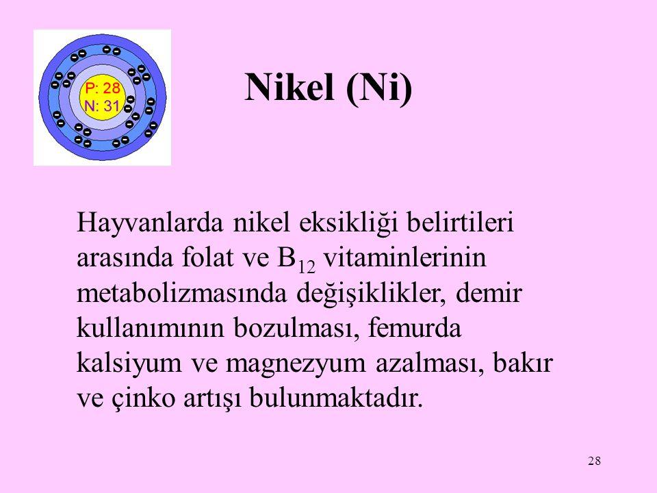 28 Nikel (Ni) Hayvanlarda nikel eksikliği belirtileri arasında folat ve B 12 vitaminlerinin metabolizmasında değişiklikler, demir kullanımının bozulma