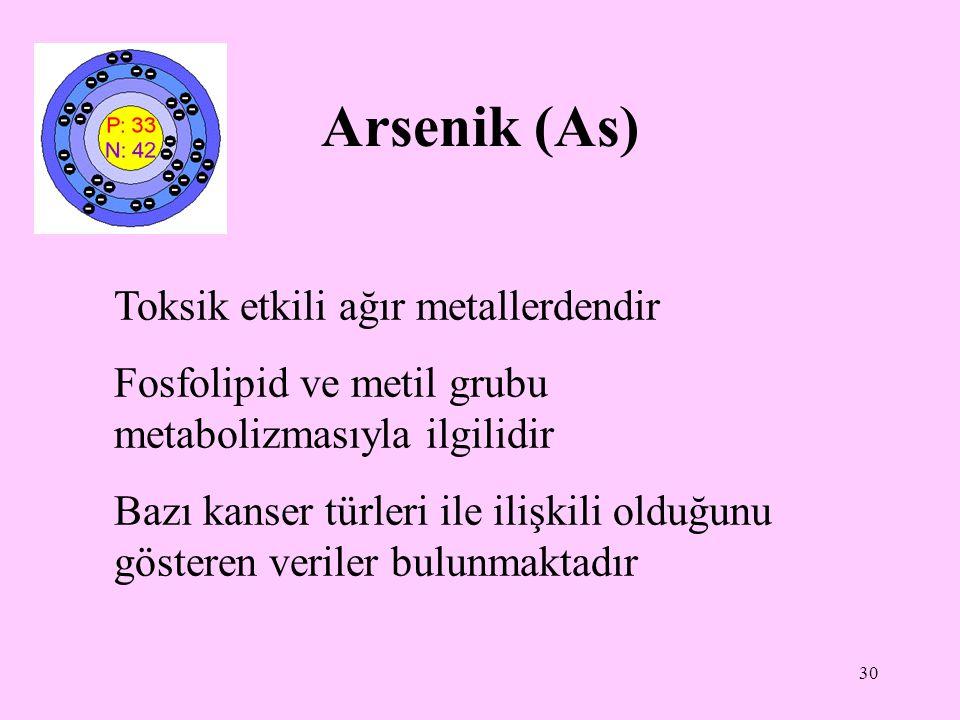 30 Arsenik (As) Toksik etkili ağır metallerdendir Fosfolipid ve metil grubu metabolizmasıyla ilgilidir Bazı kanser türleri ile ilişkili olduğunu göste