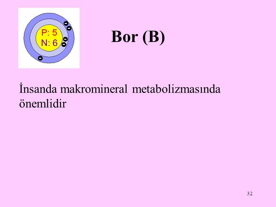 32 Bor (B) İnsanda makromineral metabolizmasında önemlidir