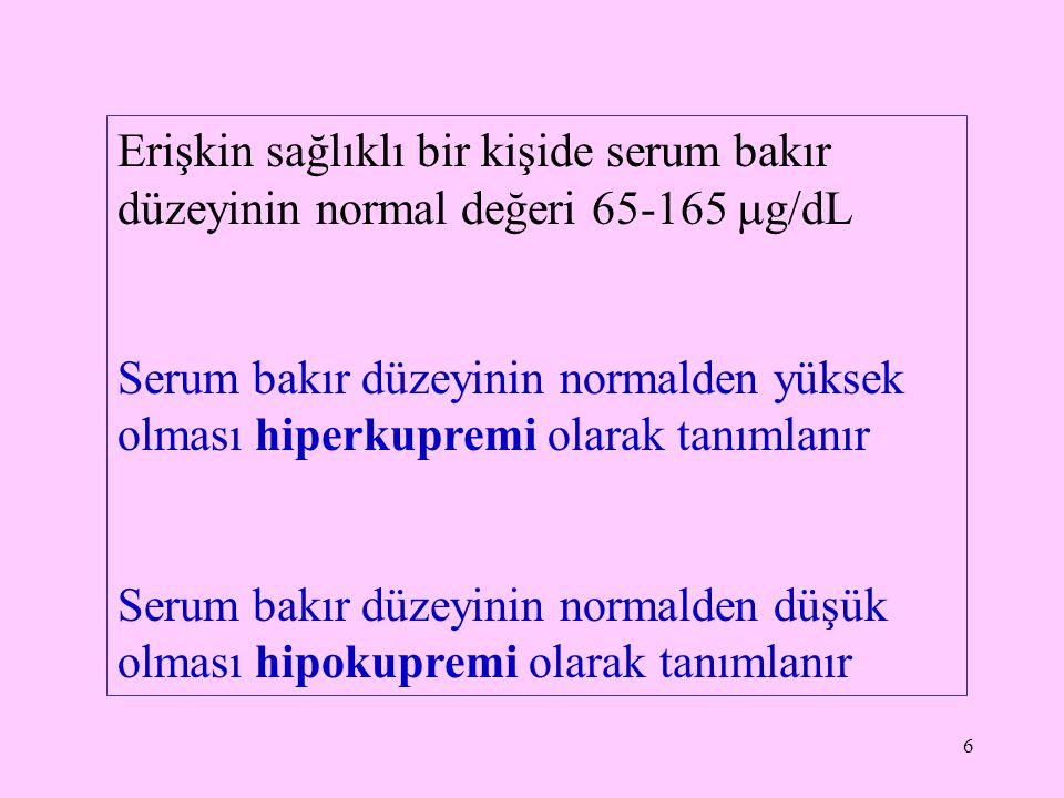 6 Erişkin sağlıklı bir kişide serum bakır düzeyinin normal değeri 65-165  g/dL Serum bakır düzeyinin normalden yüksek olması hiperkupremi olarak tanı