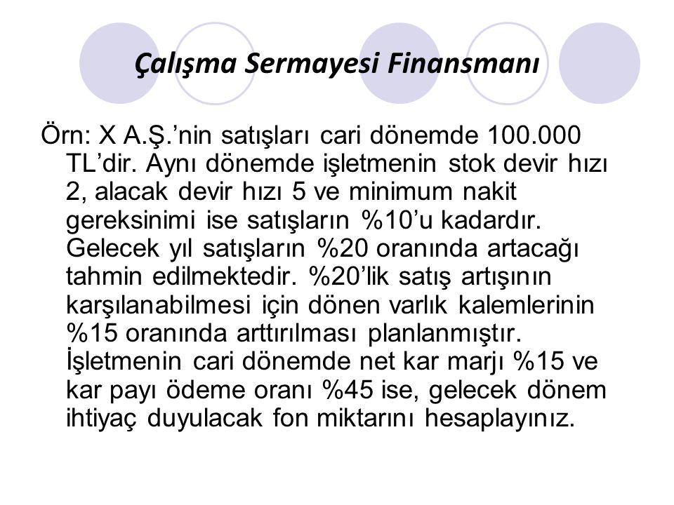 Satışlar 100.000 TL olduğunda: H.Değerler 10.000 Alacaklar 20.000 Stoklar 50.000 Dönen V.