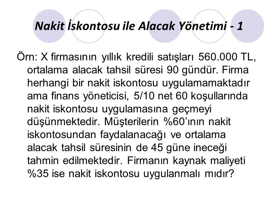 Nakit İskontosu ile Alacak Yönetimi - 1 Örn: X firmasının yıllık kredili satışları 560.000 TL, ortalama alacak tahsil süresi 90 gündür. Firma herhangi