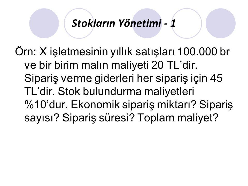Stokların Yönetimi - 1 Örn: X işletmesinin yıllık satışları 100.000 br ve bir birim malın maliyeti 20 TL'dir. Sipariş verme giderleri her sipariş için