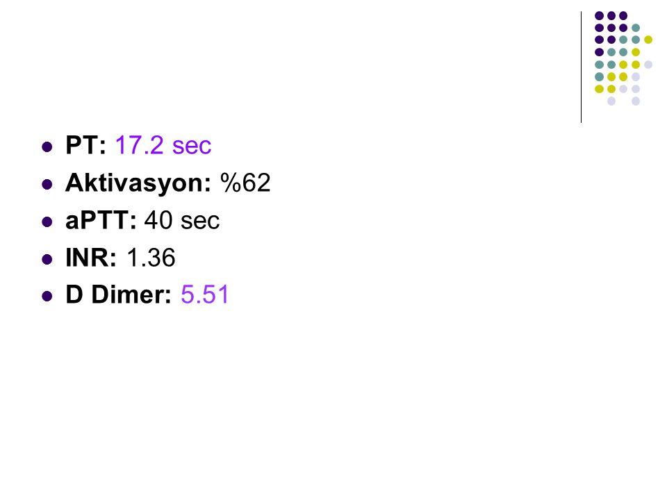 PT: 17.2 sec Aktivasyon: %62 aPTT: 40 sec INR: 1.36 D Dimer: 5.51
