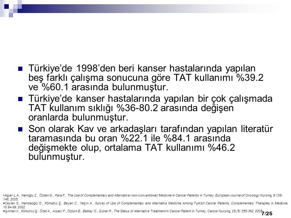 7/25 Türkiye'de 1998'den beri kanser hastalarında yapılan beş farklı çalışma sonucuna göre TAT kullanımı %39.2 ve %60.1 arasında bulunmuştur. Türkiye'