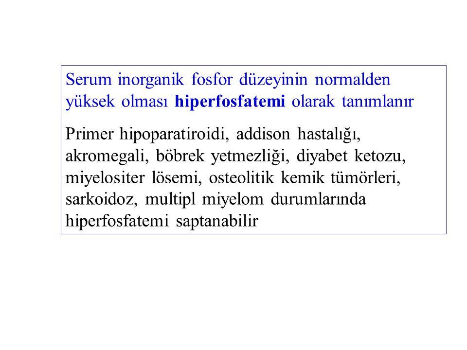 Serum inorganik fosfor düzeyinin normalden düşük olması hipofosfatemi olarak tanımlanır Primer hiperparatiroidi, raşitizm ve osteomalazi, vitamin D eksikliği, akut alkolizm ve steatore durumlarında hipofosfatemi saptanabilir.