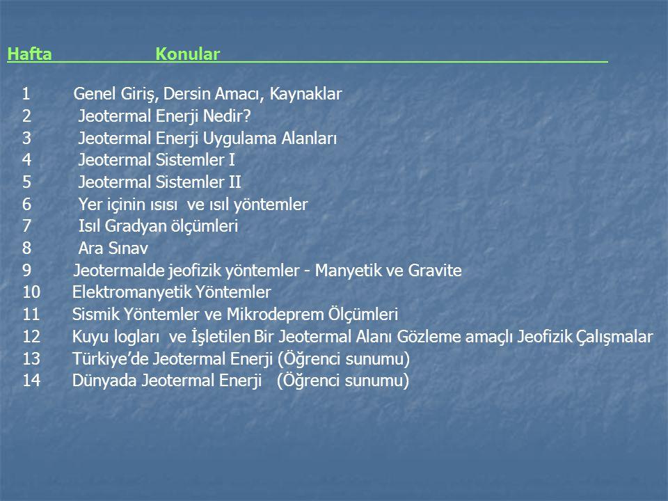 Hafta Konular 1 Genel Giriş, Dersin Amacı, Kaynaklar 2 Jeotermal Enerji Nedir? 3 Jeotermal Enerji Uygulama Alanları 4 Jeotermal Sistemler I 5 Jeoterma