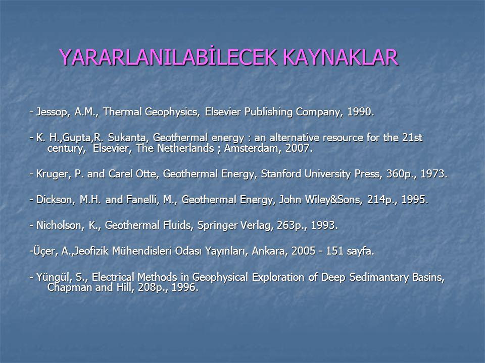 YARARLANILABİLECEK KAYNAKLAR - Jessop, A.M., Thermal Geophysics, Elsevier Publishing Company, 1990. - K. H.,Gupta,R. Sukanta, Geothermal energy : an a