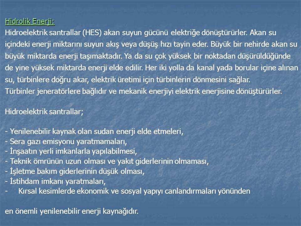 Hidrolik Enerji: Hidroelektrik santrallar (HES) akan suyun gücünü elektriğe dönüştürürler. Akan su içindeki enerji miktarını suyun akış veya düşüş hız