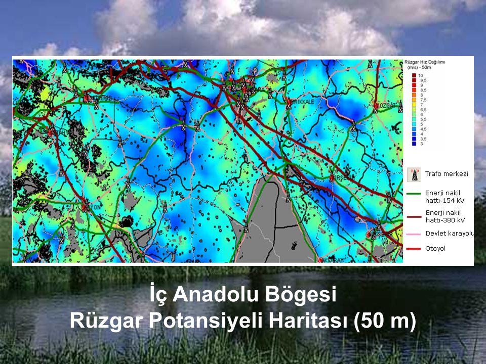 İç Anadolu Bögesi Rüzgar Potansiyeli Haritası (50 m)