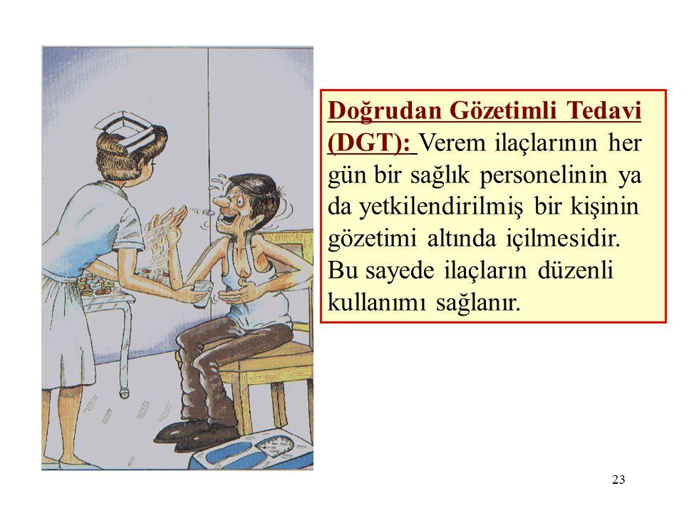 23 Doğrudan Gözetimli Tedavi (DGT): Verem ilaçlarının her gün bir sağlık personelinin ya da yetkilendirilmiş bir kişinin gözetimi altında içilmesidir.