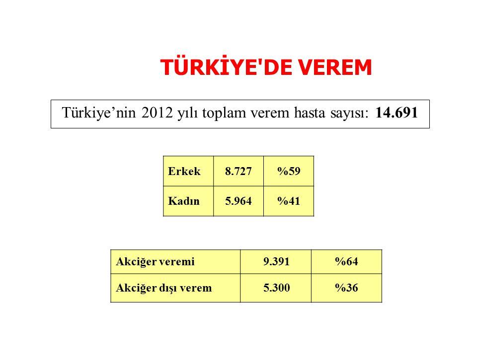 Türkiye'nin 2012 yılı toplam verem hasta sayısı: 14.691 Erkek8.727%59 Kadın5.964%41 Akciğer veremi 9.391%64 Akciğer dışı verem 5.300%36 TÜRKİYE'DE VER