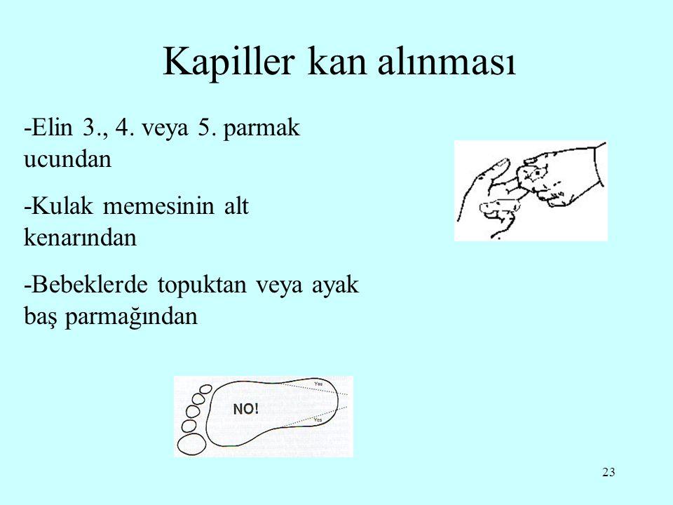 23 Kapiller kan alınması -Elin 3., 4. veya 5. parmak ucundan -Kulak memesinin alt kenarından -Bebeklerde topuktan veya ayak baş parmağından