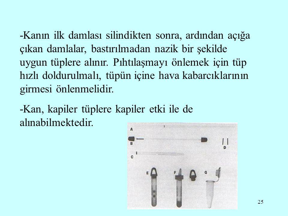 25 -Kanın ilk damlası silindikten sonra, ardından açığa çıkan damlalar, bastırılmadan nazik bir şekilde uygun tüplere alınır. Pıhtılaşmayı önlemek içi