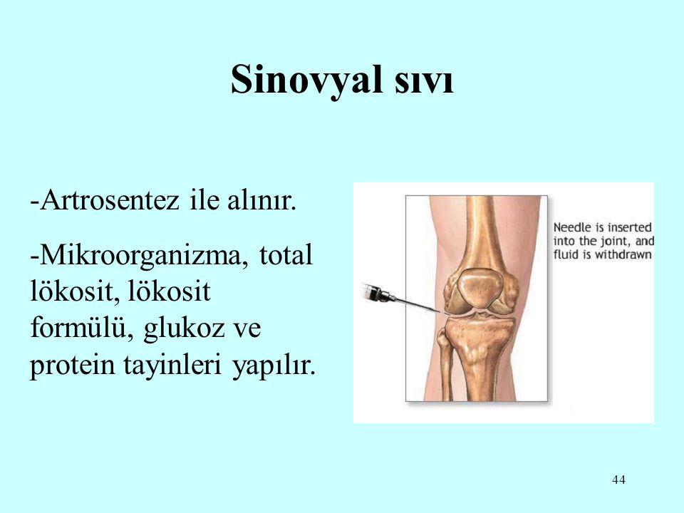 44 Sinovyal sıvı -Artrosentez ile alınır. -Mikroorganizma, total lökosit, lökosit formülü, glukoz ve protein tayinleri yapılır.