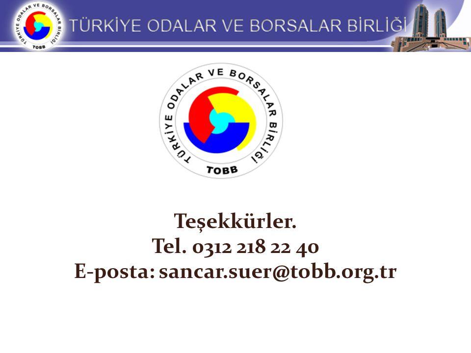 Teşekkürler. Tel. 0312 218 22 40 E-posta: sancar.suer@tobb.org.tr