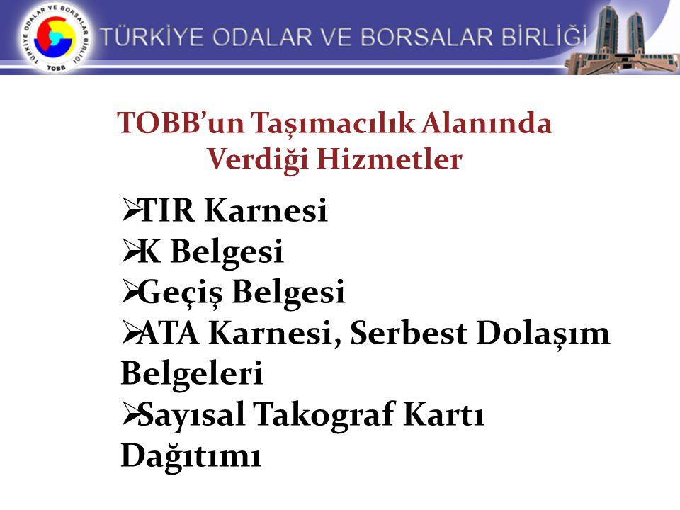 TOBB'un Taşımacılık Alanında Verdiği Hizmetler  TIR Karnesi  K Belgesi  Geçiş Belgesi  ATA Karnesi, Serbest Dolaşım Belgeleri  Sayısal Takograf K