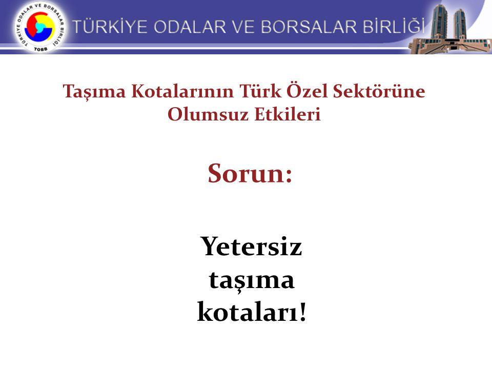 Sorun: Yetersiz taşıma kotaları! Taşıma Kotalarının Türk Özel Sektörüne Olumsuz Etkileri