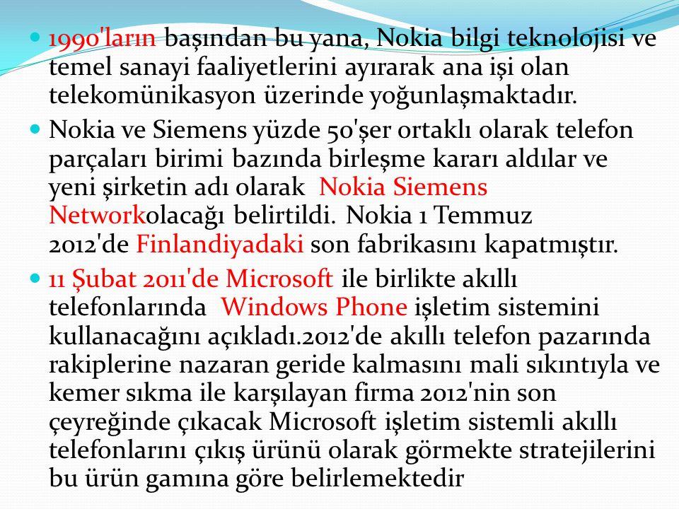 1990'ların başından bu yana, Nokia bilgi teknolojisi ve temel sanayi faaliyetlerini ayırarak ana işi olan telekomünikasyon üzerinde yoğunlaşmaktadır.