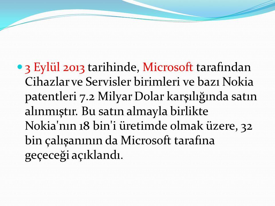 3 Eylül 2013 tarihinde, Microsoft tarafından Cihazlar ve Servisler birimleri ve bazı Nokia patentleri 7.2 Milyar Dolar karşılığında satın alınmıştır.