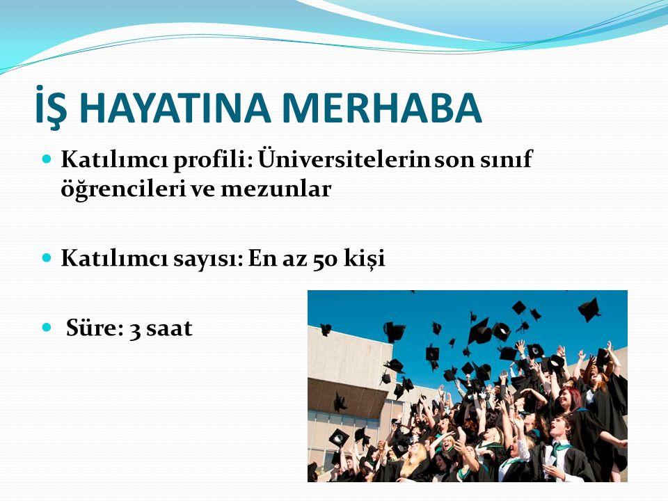 İŞ HAYATINA MERHABA Katılımcı profili: Üniversitelerin son sınıf öğrencileri ve mezunlar Katılımcı sayısı: En az 50 kişi Süre: 3 saat