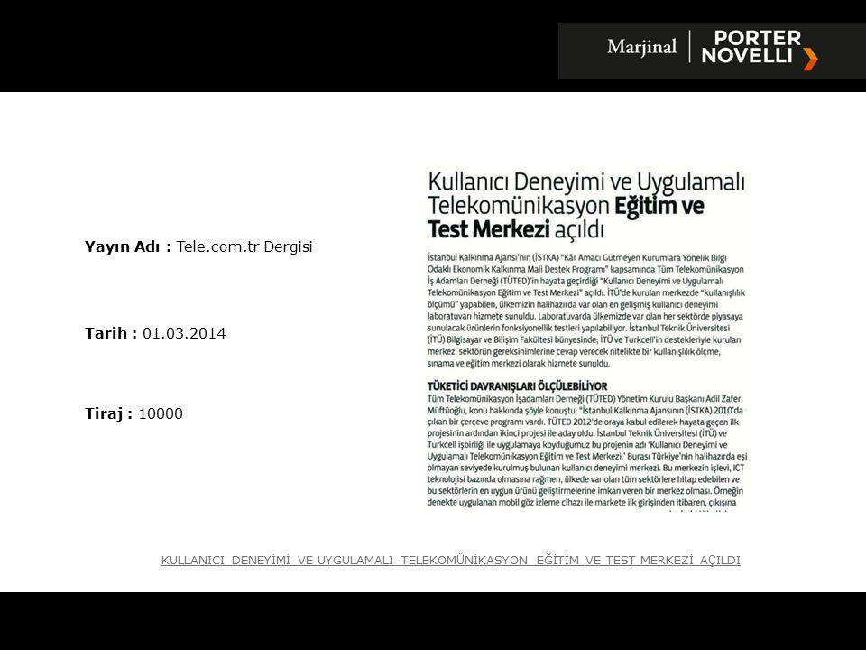Yayın Adı : İstanbul Gazetesi Tarih : 12.03.2014 Tiraj : 6528 YT Ü, TELEKOMİNİKASYON TEKNOLOJİLERİNİ Ö ĞRETECEK