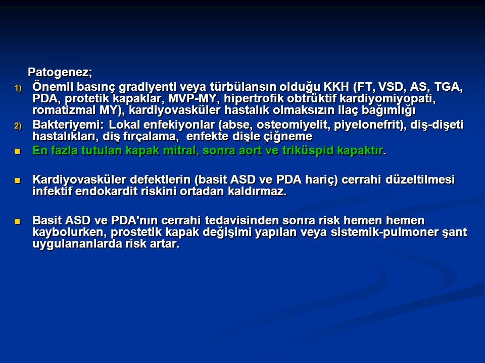 Patogenez; Patogenez; 1) Önemli basınç gradiyenti veya türbülansın olduğu KKH (FT, VSD, AS, TGA, PDA, protetik kapaklar, MVP-MY, hipertrofik obtrüktif kardiyomiyopati, romatizmal MY), kardiyovasküler hastalık olmaksızın ilaç bağımlığı 2) Bakteriyemi: Lokal enfekiyonlar (abse, osteomiyelit, piyelonefrit), diş-dişeti hastalıkları, diş fırçalama, enfekte dişle çiğneme En fazla tutulan kapak mitral, sonra aort ve triküspid kapaktır.