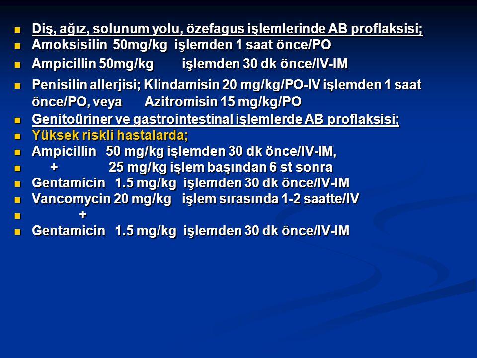 Diş, ağız, solunum yolu, özefagus işlemlerinde AB proflaksisi; Diş, ağız, solunum yolu, özefagus işlemlerinde AB proflaksisi; Amoksisilin 50mg/kg işlemden 1 saat önce/PO Amoksisilin 50mg/kg işlemden 1 saat önce/PO Ampicillin 50mg/kg işlemden 30 dk önce/IV-IM Ampicillin 50mg/kg işlemden 30 dk önce/IV-IM Penisilin allerjisi; Klindamisin 20 mg/kg/PO-IV işlemden 1 saat önce/PO, veya Azitromisin 15 mg/kg/PO Penisilin allerjisi; Klindamisin 20 mg/kg/PO-IV işlemden 1 saat önce/PO, veya Azitromisin 15 mg/kg/PO Genitoüriner ve gastrointestinal işlemlerde AB proflaksisi; Genitoüriner ve gastrointestinal işlemlerde AB proflaksisi; Yüksek riskli hastalarda; Yüksek riskli hastalarda; Ampicillin 50 mg/kg işlemden 30 dk önce/IV-IM, Ampicillin 50 mg/kg işlemden 30 dk önce/IV-IM, + 25 mg/kg işlem başından 6 st sonra + 25 mg/kg işlem başından 6 st sonra Gentamicin 1.5 mg/kg işlemden 30 dk önce/IV-IM Gentamicin 1.5 mg/kg işlemden 30 dk önce/IV-IM Vancomycin 20 mg/kg işlem sırasında 1-2 saatte/IV Vancomycin 20 mg/kg işlem sırasında 1-2 saatte/IV + + Gentamicin 1.5 mg/kg işlemden 30 dk önce/IV-IM Gentamicin 1.5 mg/kg işlemden 30 dk önce/IV-IM