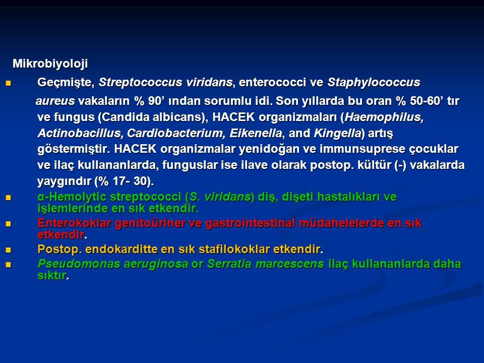Mikrobiyoloji Mikrobiyoloji Geçmişte, Streptococcus viridans, enterococci ve Staphylococcus Geçmişte, Streptococcus viridans, enterococci ve Staphyloc