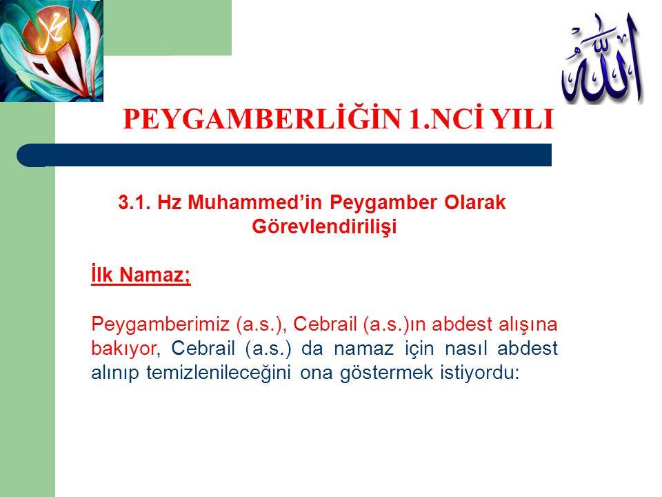 3.1. Hz Muhammed'in Peygamber Olarak Görevlendirilişi İlk Namaz; Peygamberimiz (a.s.), Cebrail (a.s.)ın abdest alışına bakıyor, Cebrail (a.s.) da nama