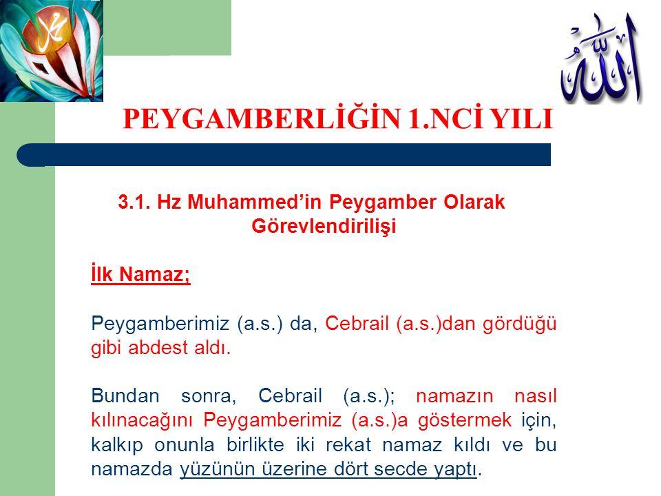 3.1. Hz Muhammed'in Peygamber Olarak Görevlendirilişi İlk Namaz; Peygamberimiz (a.s.) da, Cebrail (a.s.)dan gördüğü gibi abdest aldı. Bundan sonra, Ce