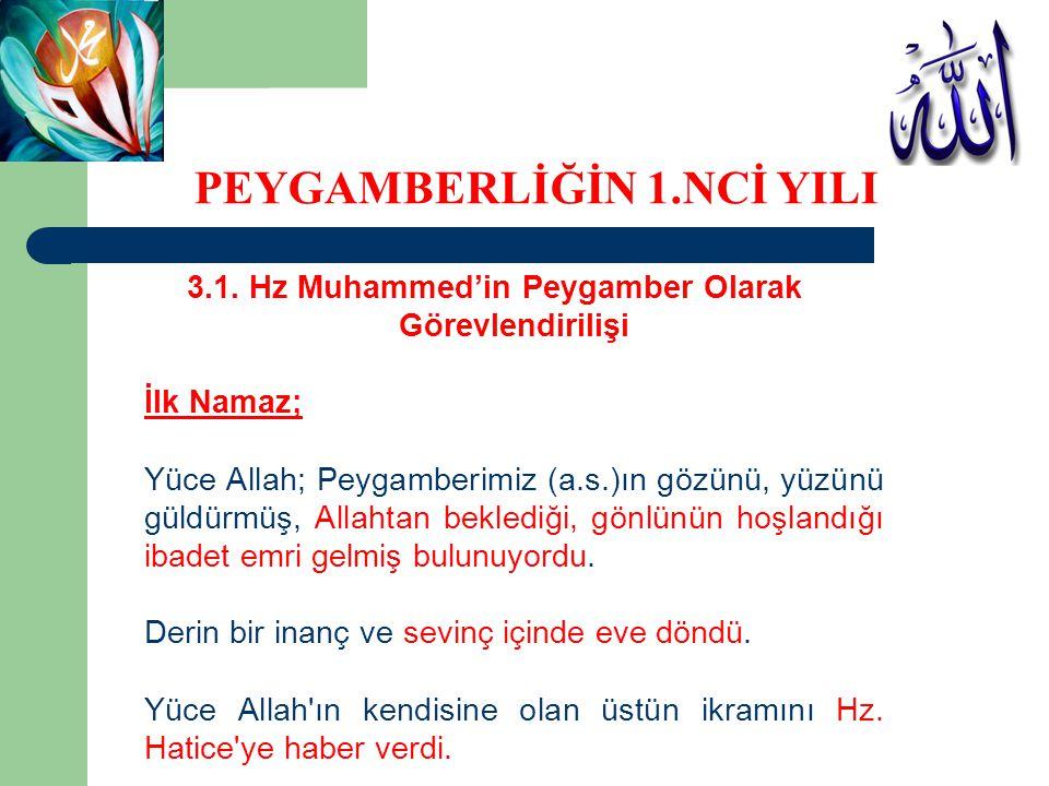 3.1. Hz Muhammed'in Peygamber Olarak Görevlendirilişi İlk Namaz; Yüce Allah; Peygamberimiz (a.s.)ın gözünü, yüzünü güldürmüş, Allahtan beklediği, gönl