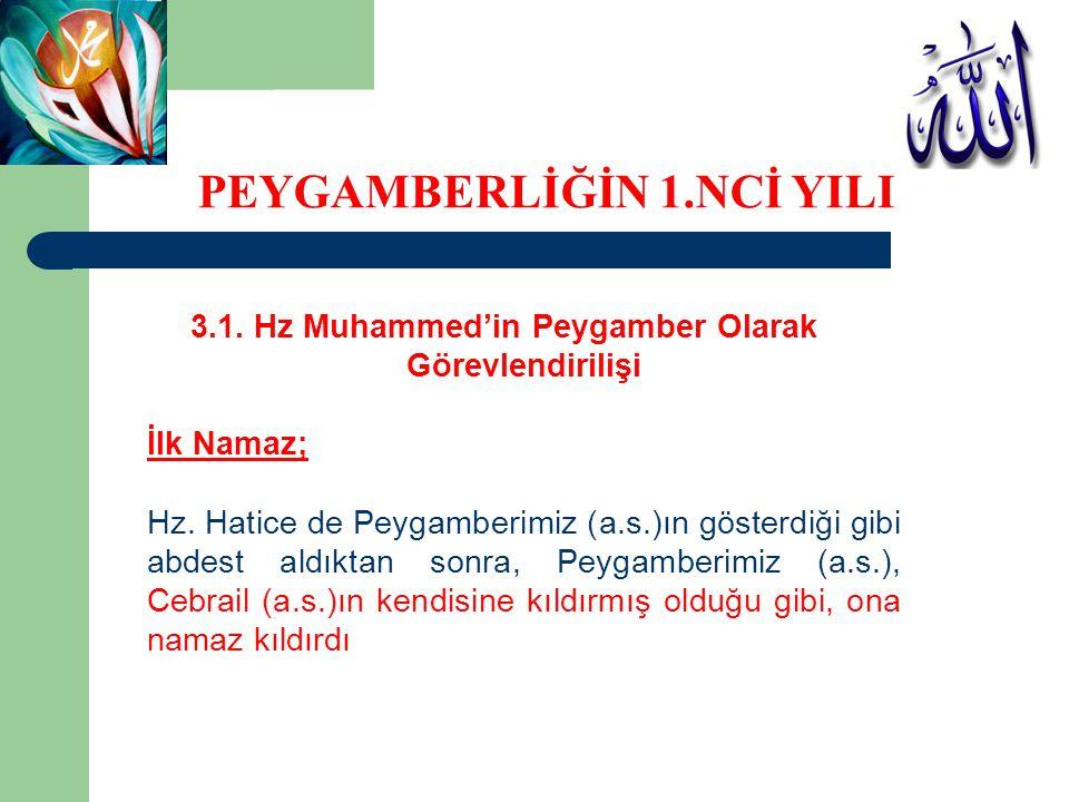 3.1. Hz Muhammed'in Peygamber Olarak Görevlendirilişi İlk Namaz; Hz. Hatice de Peygamberimiz (a.s.)ın gösterdiği gibi abdest aldıktan sonra, Peygamber