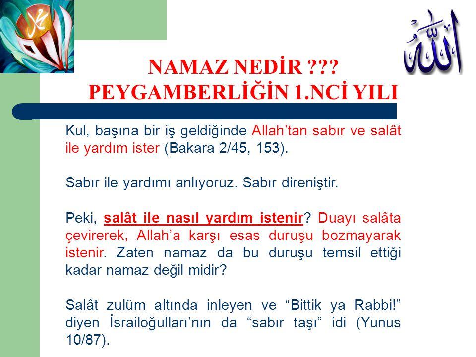 Kul, başına bir iş geldiğinde Allah'tan sabır ve salât ile yardım ister (Bakara 2/45, 153). Sabır ile yardımı anlıyoruz. Sabır direniştir. Peki, salât