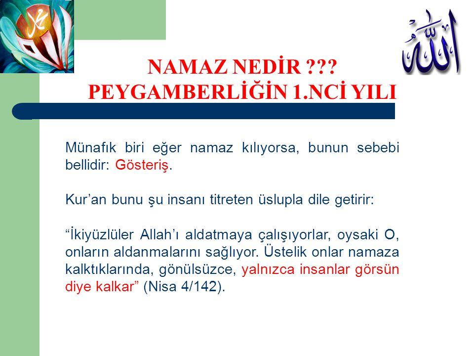 """Münafık biri eğer namaz kılıyorsa, bunun sebebi bellidir: Gösteriş. Kur'an bunu şu insanı titreten üslupla dile getirir: """"İkiyüzlüler Allah'ı aldatmay"""