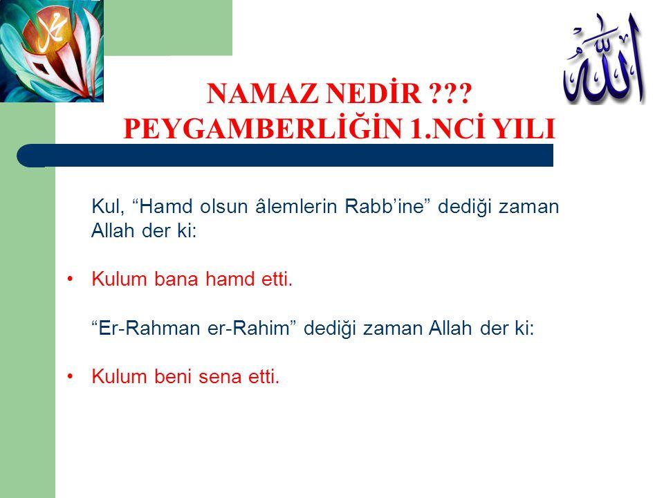 """Kul, """"Hamd olsun âlemlerin Rabb'ine"""" dediği zaman Allah der ki: Kulum bana hamd etti. """"Er-Rahman er-Rahim"""" dediği zaman Allah der ki: Kulum beni sena"""