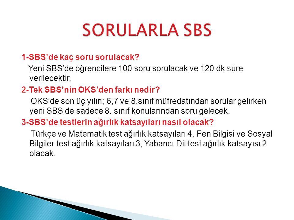 1-SBS'de kaç soru sorulacak.