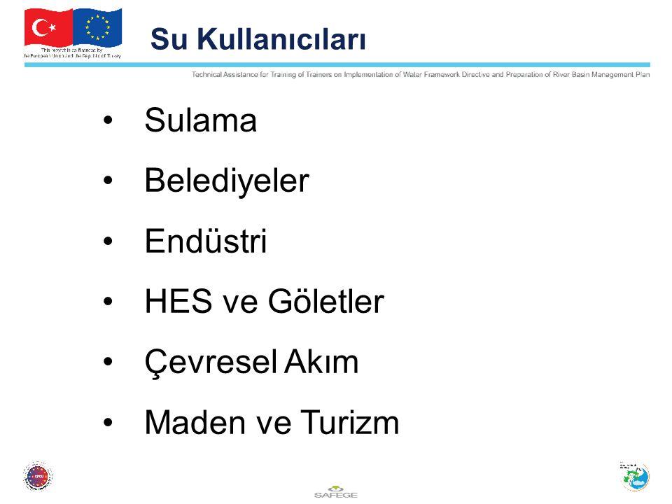Su Kullanıcıları Sulama Belediyeler Endüstri HES ve Göletler Çevresel Akım Maden ve Turizm